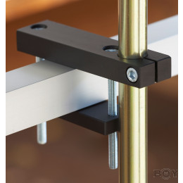Teleskopstangenhalterung für einen eckigen Geländer Handlauf - von 60 - 85mm