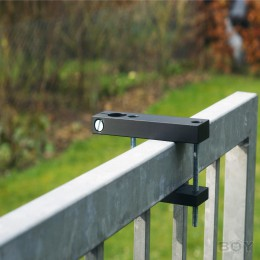 Pole mounting for square handrails with an edge length between 60 and 85mm