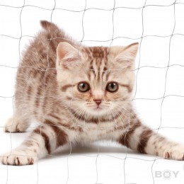 Cat Proof Balcony Netting, transparent in 30mm mesh, yarn 0.6mm Ø